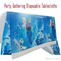 Wholesale Frozen Elsa Anna Plastic Disposable Tablecloths Baby Girls Boys kids Children Birthday Party Festival Banquet Disposable Table Cloth GZ GD11