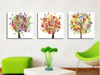 big multi picture frames - 3 set Modern Wall Painting big tree print painting Home Decorative Art Picture Paint on Canvas Framed artT