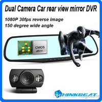 reverse camera - New P Blue Mirror Car Rear View Mirrors DVR Camera Dual Camera Car DVR Camcorder Night Vision Reversing Camera G Sensor