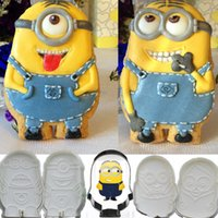 Wholesale 5pcs Despicable Me Minions Stainless Steel Cookie Cutter Plunger Cutters Fondant Cake Sandwich Biscuit Molds Metal Cake Decorating Tools DIY