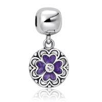Wholesale Geranium purple Flower Pendant Charms Sterling Silver Beads Fit Pandora Snake Chain Bracelet Female Jewelry European Charm