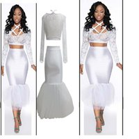 Solid ladies white skirt - women white maxi long high waist pencil mermaid ruffles skirt saia with white cropped top outfit lady female clothing set