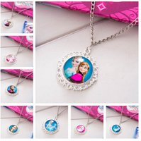 Wholesale new arrive Frozen Necklaces Colorful Ribbon Necklace Cartoon Pendants Baby Clothes Girls Dress Accessories D189