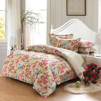 Wholesale elegant pink blue small rose flower striped print bedding set queen full size bed linen cotton bedspread duvet covers pieces