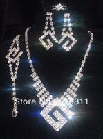 Wholesale Fashion Wedding jewelry set rhinestone Sets letters shape charming bridal wedding jewelry set Factory price