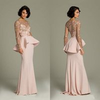 Wholesale Chiffon Gowns Beaded Tops - Designer Evening Gowns 2016 New Style Illusion Lace Top Mermaid Sweep Train Peplum Blush Pink Chiffon Evening Dresses Long Sleeves