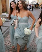 beach bride weddings - 2016 Mint Grey Plus Size Bridesmaids Dresses Long Floor Summer Beach A Line for Cheap Beaded Sash Junior Brides Maids Dresses For Weddings