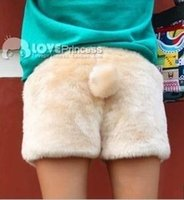 bear tail - Autumn winter women s plush velvet fleece warm boot cut faux fur shorts trousers cute kawaii bear rabbit tail leopard shorts