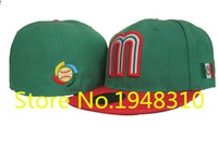 Wholesale Retail Hip Hop Hat Snapback Fitted Cap Hiphop Hat Snapback Full Closed Design Mexico Fitted Caps Green Color with Red Flat Visor