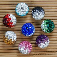 Wholesale 14mm Tone Gradient Shamballa Ball Jewelry Making clay Pave Disco Rhinestonet Bead Full Hole Each Color or Mix Color