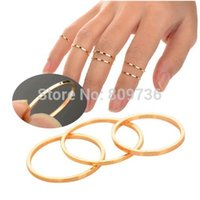 Cheap 5PCS Set Hot Sell Punk Urban Gold stack Plain Above Knuckle Ring Band Midi Mid Finger Ring Women Jewelry