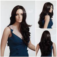 best wigs online - Best Quality Dark Brown Wigs Elegance Girls Big Wavy Wigs Cheap wigs online sales Kanekalon Free wig cap