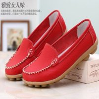 leather flat shoes - New Women Flats Genuine Leather Shoes Slip on Ballet Comfort Shoes woman Colors moccasins plus