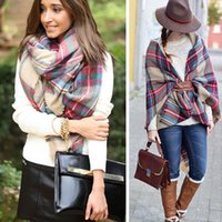 Wholesale Famous Brand Winter Scarf Women Colorful Scottish Plaid Scarf High Fashion Cape Women s Shawls and Scarves Warm Pashmina Wrap