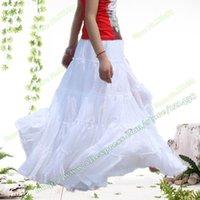 Été 100% coton élégant coutures occasionnels Span Dancing blanche jupe longue / BOHO Bohemia plissé Maxi jupes pour les femmes