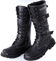 Knee Boots cowboy boots - 2014 New Arrival Men s Knee High Boots Black Buckles Lace Up Leather Outdoor Martin Winter Cowboy Combat Boots US Size