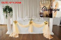 Wholesale Champagne M m Organza fabric Wedding Decoration table top swag curtain Party Chair Sash Bow Table Runner Swag table skirt