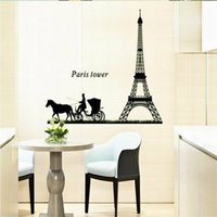 Cheap Wall Stickers Home Décor Paris Tower Wagon Luminous Stickers Fashion DIY Home Decoration PVC Removable Wall Stickers WS0049