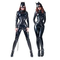 Zentai / Catsuit Costumes catsuit costume - sexy lingerie PVC stretchy leather catsuit Catwoman condom Costume for Adult Size body suits women club wear plus size catwoman Zentai XL L