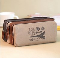Cheap Wholesale-NEW Retro Canvas Pencil Pen Case Cosmetic Coin Wallet Storage Purse Zipper Pouch
