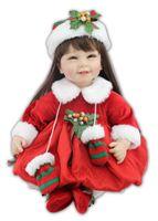 baby dress up doll - 22inch cm Silicone baby reborn dolls Christmas dress up adora doll boneca brinquedos menina