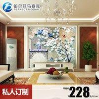 Wholesale Platinum Amalfi European bird of happiness painted glass mosaic tile mosaic TV backdrop scissors puzzle JH81