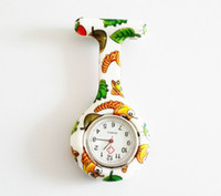 Wholesale New Silicone Colorful Prints Medical Nurse Watch Cute Patterns Fob Quartz Watch Friends Gift Pin Watches Models