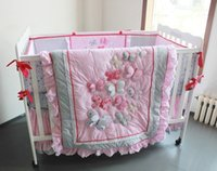 Wholesale Three dimensional embroidery Butterfly Flying pink cotton pieces baby bedding set Quilt Bumper bed Skirt Fitted Diaper bag A