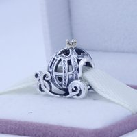 silver charm - Pandora Charms Pendants Sterling Silver Charms Cinderella Pumpkin Car Charms With k Gold and Czs For Charms Bracelets CE520