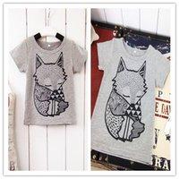 Wholesale new summer fashion kids unisex t shirts lovely cartoon fox print leisure tops