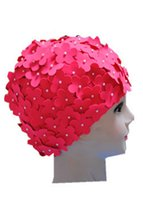 Wholesale Ladies Petal Flower Vintage Style Swimming Hat Cap Big Size colors