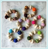 Wholesale chunky Crochet nursing toy wood beads baby crochet bead fade color colors to choose roundel NT109