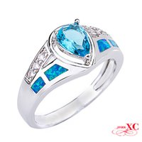 Cheap Fine Jewelry Wedding Finger Rings Hot Sale Lady's Men's Fashion Sapphire AAA Zircon opal anel 925 Sliver Filled Ring R6A0145