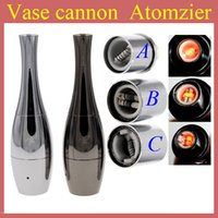Wholesale Vase cannon Bowling Atomizer Dry Herb Vaporizer wax Dual Coil Rebuildable Stainless Steel Black Gold Vase Shape Metal Vapor E Cigs AT120