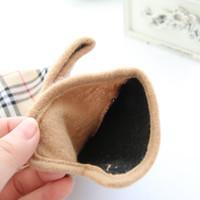 Wholesale Hot Classic New Designer British Style Women Winter Brand Gloves amp Mittens Fashion Female Angora Wool Warm Plaid Glove