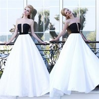 Wholesale White And Black A Line Evening Dresses Elegant Long Strapless Simple Floor Length Prom Dress Party Gowns New