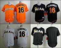 baseball uniforms - Jose Fernandez Jersey Miami Marlins Cool Base Uniforms White Black