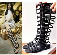 high heel open toe shoes - Women Gladiator Sandals new black Cutouts Zipper Knee High Gladiator Sandals Open Toe Summer Gladiator Sandals shoes for womens ladies