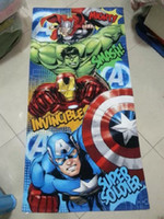 towel robe - 24pcs2015 New arrive Iron man Marvel Avengers bath towel cotton towels bathroom children beach towel kids bath towel spider man towel