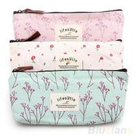 Wholesale New Flower Floral Pencil Pen Canvas Case Cosmetic Makeup Tool Bag Storage Pouch Purse Y