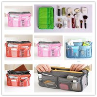 Wholesale 2015 Women Travel Insert Handbag Makeup Bag Purse Cosmetic MP3 Mp4 Phone Storage Organizer Sundry Bags Cosmetics Bags Two Zipper Bag P