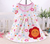 Cheap toddler baby cotton nightgown dress infant flower animal dresses girls summer pajamas children boutique clothes floral sleepwear wholesale