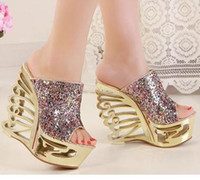 Wedge wedges - Gorgeous sequins shoes Wedge slippers sandals party Evening shoes cm High Heels Sandals nightclub shoes