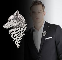 asian tuxedo - Europe Style Chic Brooches Man Fashion Wolf Head Pins Wedding Formal Occasion Individuality Men Tuxedos Suits Pin Brooch