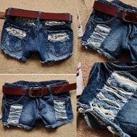 Wholesale 2015 New arrival Retro Women s Ladies summer Low Waist Tassel Hole Lace Jeans Denim Shorts Hot Pants SV002873