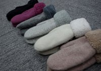 Wholesale 2015 Winter Hot explosion models thick pure wool gloves cuff Ms solid wool double thick mittens women warm gloves