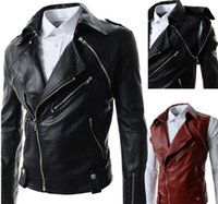 Wholesale 2015 Korean Fashion Coat Autumn Winter Warm Man Pu Leather Jacket Men S Casual Coats Male Chaqueta Hombre Top Design Black Red Coat for men