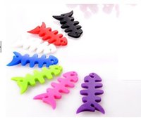 Cheap New arrival hot sale silicone earphone winder cable reel winder fish fishbone Headphone cable winder