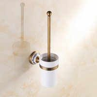 Wholesale Wall Mounted Antique Brass Finished Bathroom Accessories Toilet Brush Holders Sanitary wares porcelain brass toilet brushes A FN850