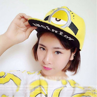 Wholesale 2015 New Despicable Me Hats Cartoon Adults Minions Snapback Baseball Caps Brand Flat brimmed Hip Hop Cap Men And Women